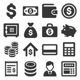 Money and Banking Icon Set. Vector. Illustration Stock Images