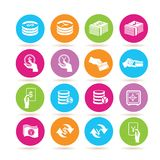 Money and banking icons. Collection of 16 money and banking icons in colorful buttons Royalty Free Stock Image