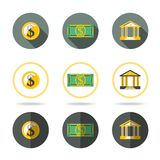 Money and banking icons set. In different flat. Styles. vector Stock Image