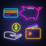 Money and banking neon signs collection royalty free stock photography