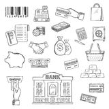 Money, banking services, shopping sketch symbols Stock Photos