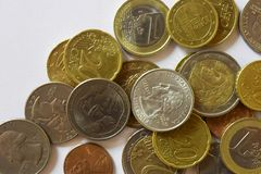 Money, Banknote, Bills, USD, Euro, Coins, Penny, Dime, Quarter royalty free stock image