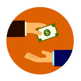 Money banknote deal. Hand trade Royalty Free Stock Photo