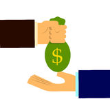 Money banknote deal. Hand trade Royalty Free Stock Images