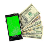Money banknotes with broken Smartphone Isolated on white Stock Images