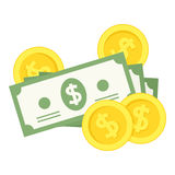 Money Banknotes & Coins Flat Icon on White Royalty Free Stock Images