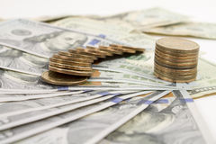 Money banknotes and coins Royalty Free Stock Photo