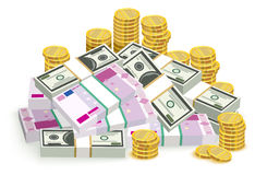 Money banknotes and coins. Money euro and dollars. Bundle of money Stock Photo