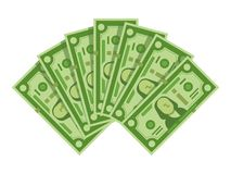 Money banknotes fan. Pile of dollars cash, green dollar bills heap or monetary currency isolated vector illustration. Money banknotes fan. Pile of dollars cash royalty free illustration