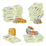 Money Banknotes Stacks Vector. 3D Cash, Gold Coins, Banknotes Piles Illustration. Hundreds Dollars Vector Packing In Bundles Of Bank Notes, Bills, Gold Coins Stock Photo