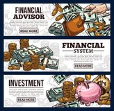 Finance and investment banner with money currency. Money banner of finance and investment business concept. Cash money of dollar currency, gold coin stack and Stock Photos