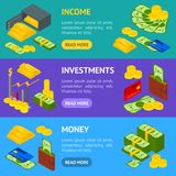 Money Banner Horizontal Set Isometric View. Vector. Money Banner Horizontal Set Isometric View Include of Coin, Dollar Stack, Graph, Plastic Credit Card, Wallet Royalty Free Stock Photos