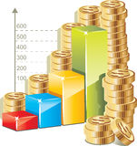 Money bar graph Stock Photo