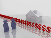 Money barrier. Illustration of a couple beeing seperated from their house by a barrier of Dollar signs. 3d render Royalty Free Stock Photos
