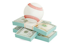Money and baseball ball. Online sport bets. 3D rendering
