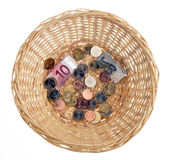 Money in Basket Stock Photo