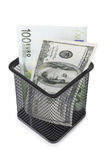 Money and basket Stock Photo