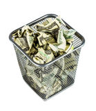 Money in a basket Royalty Free Stock Photo
