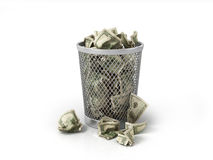 Money in basket. Royalty Free Stock Photography
