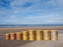 Money on the beach Royalty Free Stock Photography