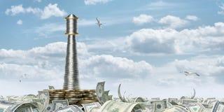 Money beacon. Beacon on the monetary sea (with path Royalty Free Stock Photo