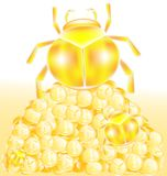 Money and beetles. Mountain of gold and coins, to the top of the gold bugs are crawling, increasing in size Stock Photo