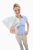 Money being held by woman Royalty Free Stock Photos