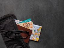 Money Belt with Passport. Travel concept - Money Belt with Passport, boarding pass and Euros 50 map passenger accessory adjustable aircraft airplane background royalty free stock photo