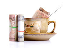 Money and beverage Stock Photos
