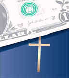 Money on bible. Vector illustration Stock Image