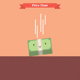 Money bill falling limit by price floor Stock Images