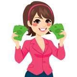 Money Bill Fan Successful Businesswoman. Beautiful happy businesswoman holding a green money bill fan on each hand showing success concept Royalty Free Stock Images