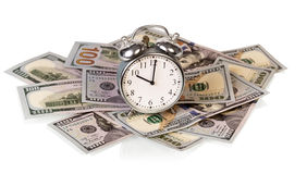 Money bills with clock Stock Photography