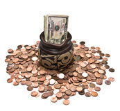 Money Bills and Coins Stock Photo