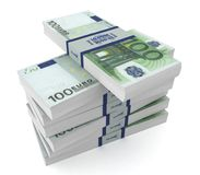 Money bills 3d illustration isolated. On white background Royalty Free Stock Photo