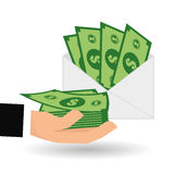 Money bills design, vector illustration, vector illustration Stock Images