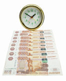Money bills since hour. Money bills since round hour are insulated on white background Stock Photos