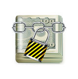 Money bills and lock with chain  on white. Background Royalty Free Stock Images