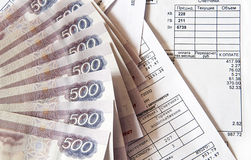 Money and bills. Russian banknotes  on the accounts services Royalty Free Stock Photography
