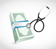Money bills stethoscope illustration design. Over a white background Royalty Free Stock Photo