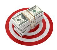 Money bills and target 3d illustration isolated. On white background Stock Image