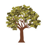 Money bills tree. Tree with green money bills and brown trunk over white background. vector illustration Royalty Free Stock Image