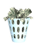 Money in the bin. Object isolated over white vector illustration