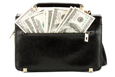 Money in the black bag Royalty Free Stock Photos
