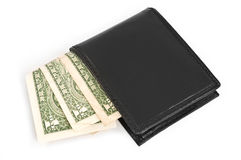 Money in black leather purse. Stock Photography