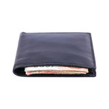 money in black leather wallet isolated on white Stock Image