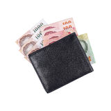 money in black leather wallet isolated on white Royalty Free Stock Photos