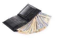Money in  black leather wallet. Stock Photography