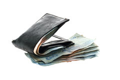 Money in black leather wallet. Royalty Free Stock Photography
