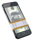 Money in black mobile phone. 3D concept with mobile phone and dollar banknote Royalty Free Stock Photography